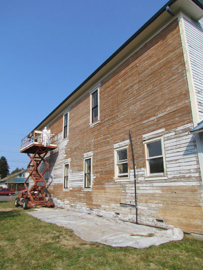 Painting project, south wall, Fall City Masonic Hall © 2012, courtesy of Falls City Masonic Temple Corporation
