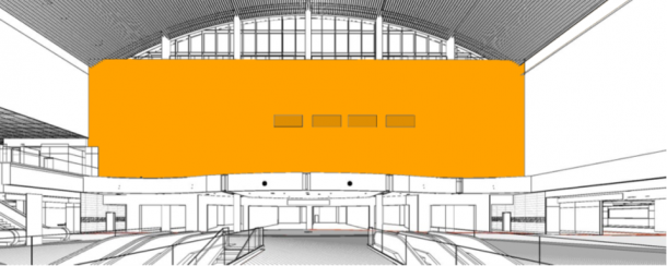 "Rendering of  Concourse C Ticketing Wall (41'5""H X 152'6""W)"