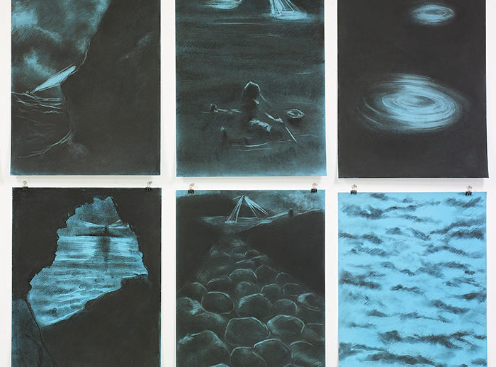 © 2016 Pat De Caro. Foreign Shores. Charcoal and pastel on Fabriano paper. 28 x 19.5 inches each. Photo: Otto Greule.